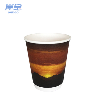 printed double wall paper coffee cup 7 oz with handle