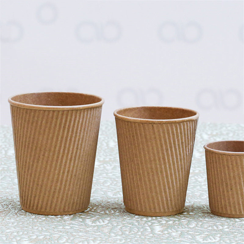 8oz Disposable Custom Company Logo Printed Hot Drinking Ripple Wall Paper Cup