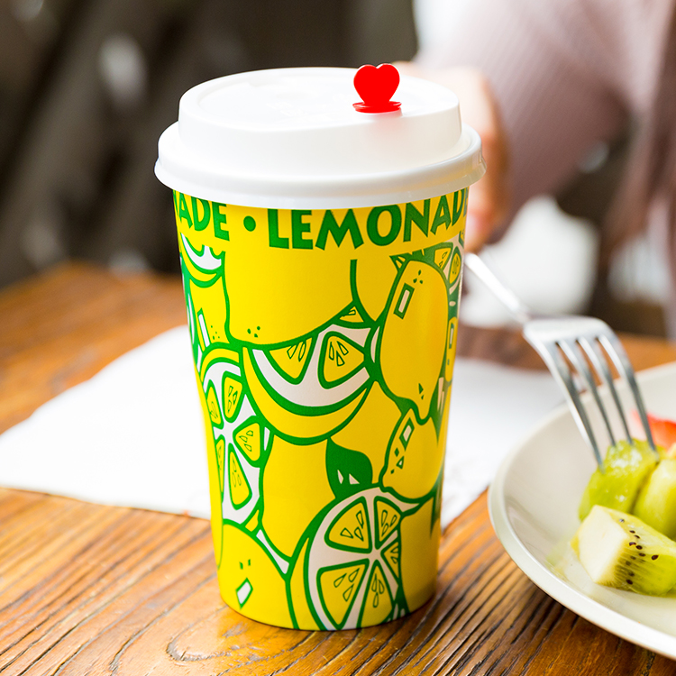 Customized Pattern Printing Cold Drink Cup With Lid