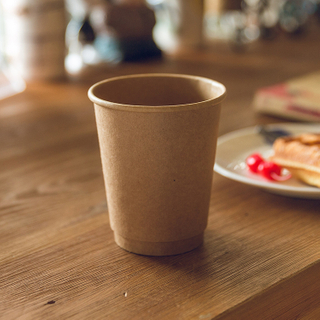 customizable 8oz 12oz 16oz Biodegradable Kraft Paper Double Wall Cup With Lid