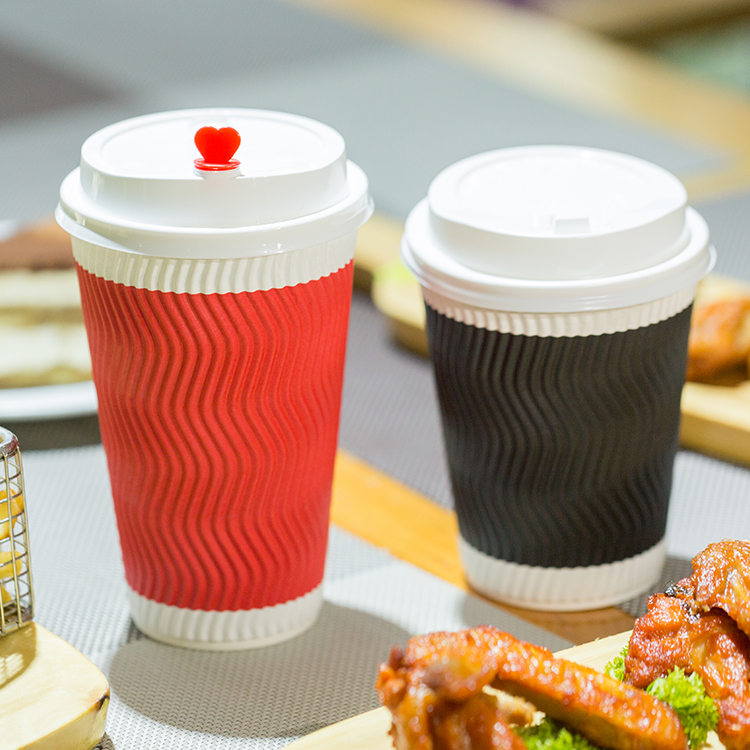 Eco Friendly Disposable Ripple Wall Paper Cups For Coffee