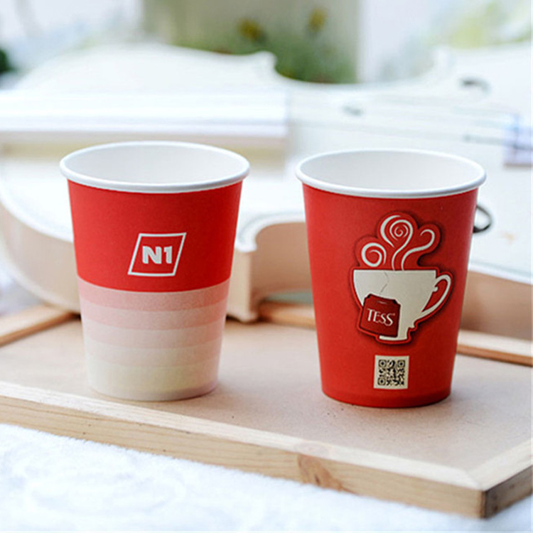 Newest Design Holder Single Wall Disposable Paper Cup With Lids Handle