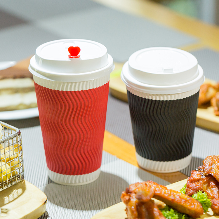 Double Wall Eco Friendly Ripple Beverage Paper Cup