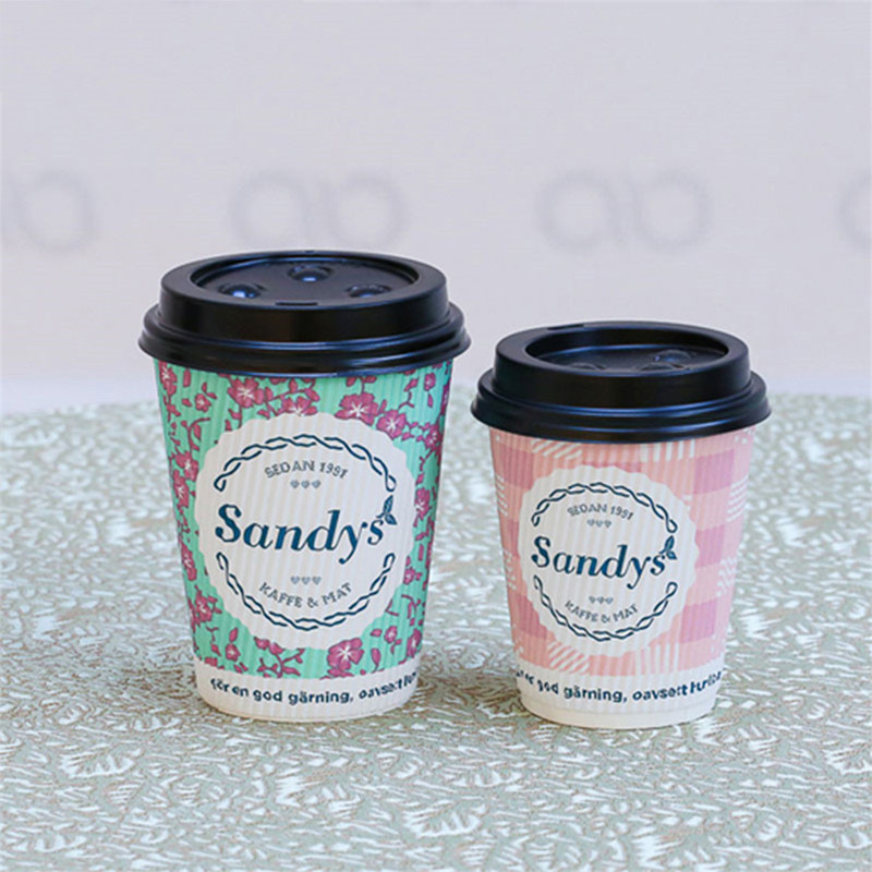 Disposable Corrugated Custom Logo Design Printed Ripple Wall paper coffee cup