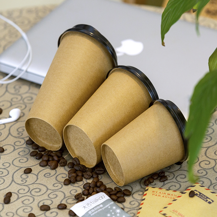 Disposable Kraft Paper Printed Coffee Tea Hot Drink Cup 12oz with Lids
