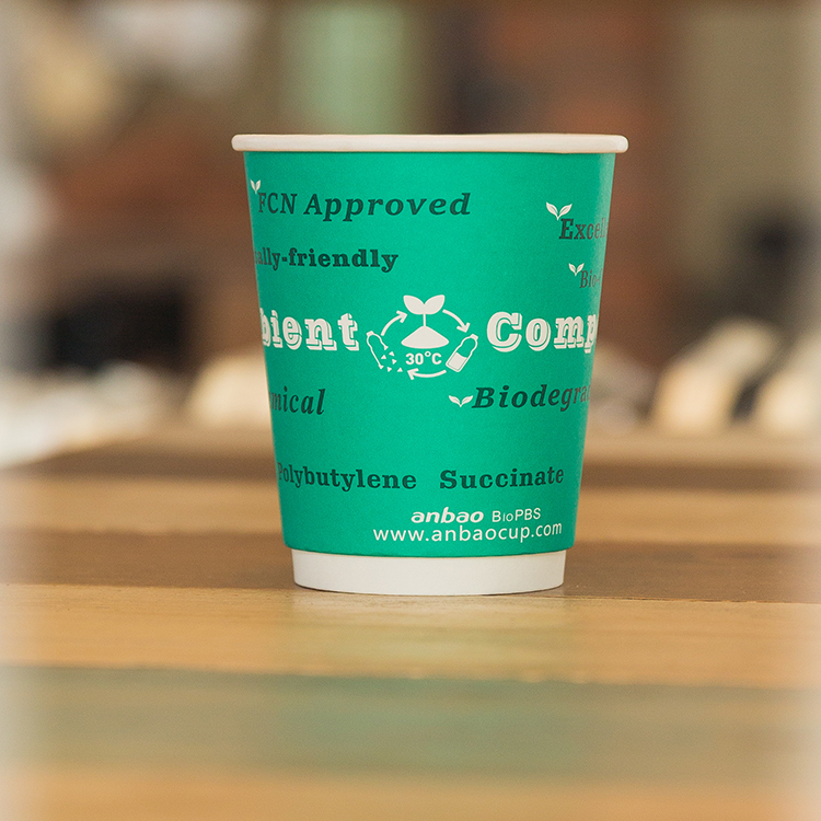 Good Quality BioPBS Compostable Coffee Single Wall Paper Cups With Lid