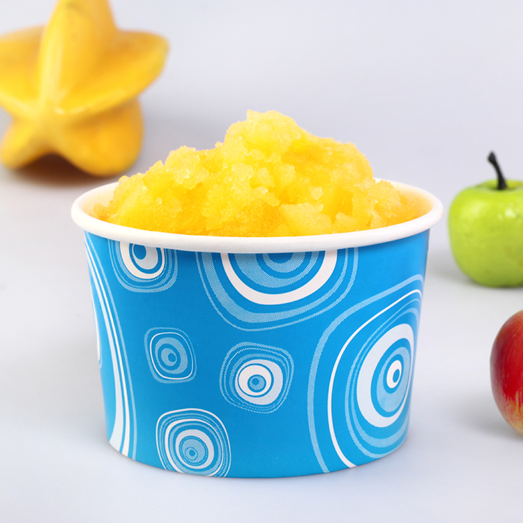 Custom Design Single Wall Paper Ice Cream Containers With Lid