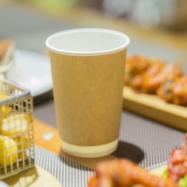 Customizable Disposable Kraft Double Wall Paper Cup with Lid