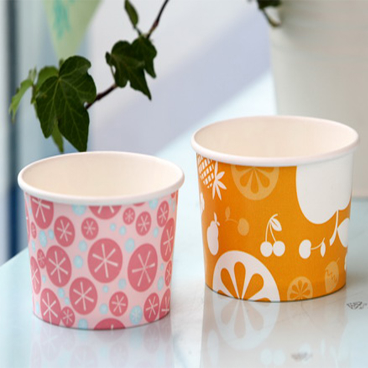 Customer Printed Disposable Paper Ice Cream Cup with Dome Lid wholesale Disposable Paper Frozen Yogurt Cup