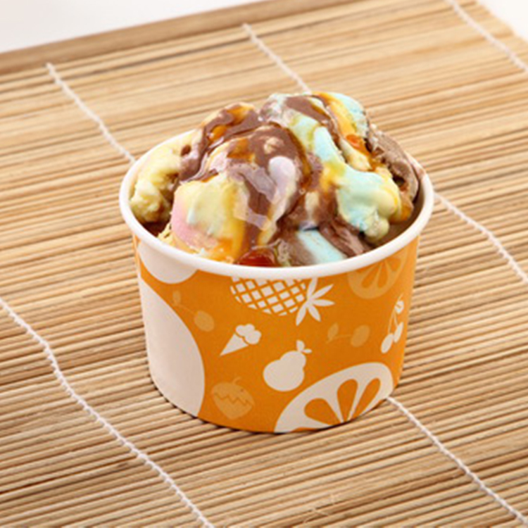 4 oz 6.5oz 12oz 16oz Custom Printed Wholesale Waterproof Single Wall Ice Cream Paper Cup With Lid