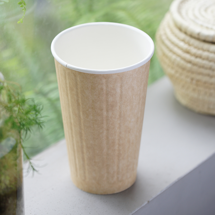 Custom Biodegradable Thick Take Away Coffee Ripple Paper Cups