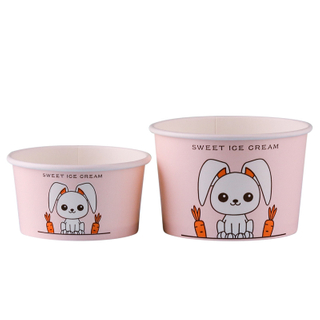 Eco-Friendly Customized Frozen Yogurt ice cream cup paper bowl With Lid